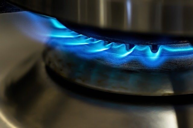 Blue gas flames from gas stove